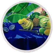 Tropical Fruit Round Beach Towel by Lincoln Seligman