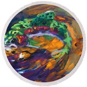 Trout And Fly Round Beach Towel by Savlen Art