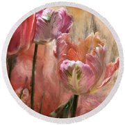 Tulips - Colors Of Love Round Beach Towel by Carol Cavalaris
