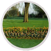 Tulips In Hyde Park, City Round Beach Towel by Panoramic Images