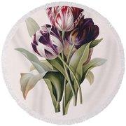 Tulips Round Beach Towel by Pierre Joseph Redoute