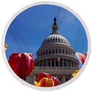 Tulips With A Government Building Round Beach Towel by Panoramic Images