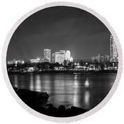 Tulsa In Black And White - University Tower View Round Beach Towel by Gregory Ballos