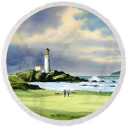 Turnberry Golf Course Scotland 10th Green Round Beach Towel by Bill Holkham