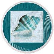 Turquoise Seashells Xxii Round Beach Towel by Lourry Legarde