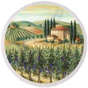 Tuscan Vineyard And Villa Round Beach Towel by Marilyn Dunlap