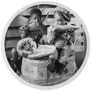 Two Boys Eating Watermelon Round Beach Towel by Underwood Archives