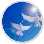 Two Doves Side By Side With Wings Round Beach Towel by Panoramic Images