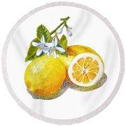 Two Happy Lemons Round Beach Towel by Irina Sztukowski