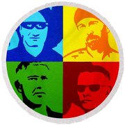U2 Round Beach Towel by John  Nolan