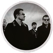 U2 Round Beach Towel by Paul Meijering