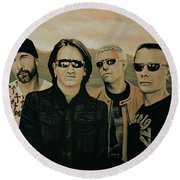 U2 Silver And Gold Round Beach Towel by Paul Meijering