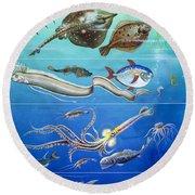 Underwater Creatures Montage Round Beach Towel by English School