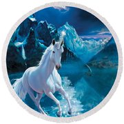 Unicorn Round Beach Towel by Andrew Farley