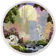 Unicorn New Born Round Beach Towel by Garry Walton