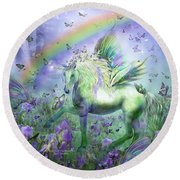 Unicorn Of The Butterflies Round Beach Towel by Carol Cavalaris