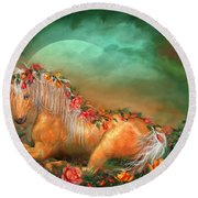 Unicorn Of The Roses Round Beach Towel by Carol Cavalaris