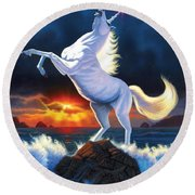 Unicorn Raging Sea Round Beach Towel by Chris Heitt