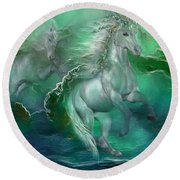 Unicorns Of The Sea Round Beach Towel by Carol Cavalaris