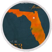 University Of Florida Gators Gainesville College Town Florida State Map Poster Series No 003 Round Beach Towel by Design Turnpike