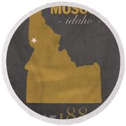 University Of Idaho Vandals Moscow College Town State Map Poster Series No 046 Round Beach Towel by Design Turnpike
