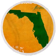 University Of Miami Hurricanes Coral Gables College Town Florida State Map Poster Series No 002 Round Beach Towel by Design Turnpike