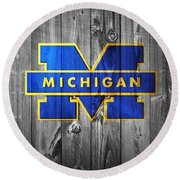 University Of Michigan Round Beach Towel by Dan Sproul