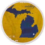 University Of Michigan Wolverines Ann Arbor College Town State Map Poster Series No 001 Round Beach Towel by Design Turnpike