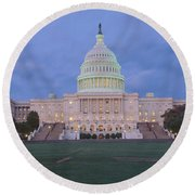 Us Capitol Building At Dusk, Washington Round Beach Towel by Panoramic Images