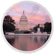 Us Capitol Washington Dc Round Beach Towel by Panoramic Images