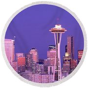Usa, Washington, Seattle, Night Round Beach Towel by Panoramic Images