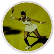 Venus Williams In Action Round Beach Towel by Brian Reaves