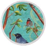 Verdigris Songbirds 1 Round Beach Towel by Debbie DeWitt