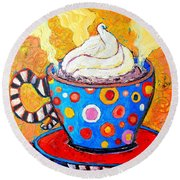Viennese Cappuccino Whimsical Colorful Coffee Cup Round Beach Towel by Ana Maria Edulescu