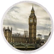 View From Southbank Round Beach Towel by Heather Applegate