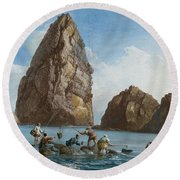 View Of The Rocks On The Third Island Of Cyclops Round Beach Towel by Jean-Pierre-Louis-Laurent Houel
