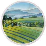 Vineyard Blue Ridge On Buck Mountain Road Virginia Round Beach Towel by Catherine Twomey