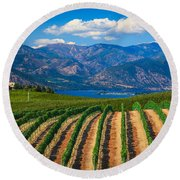 Vineyard In The Mountains Round Beach Towel by Inge Johnsson