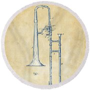 Vintage 1902 Slide Trombone Patent Artwork Round Beach Towel by Nikki Marie Smith