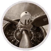 Vintage B-17 Round Beach Towel by Adam Romanowicz