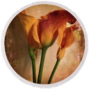 Vintage Calla Lily Round Beach Towel by Jessica Jenney