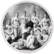 Vintage Football Circa 1900 Round Beach Towel by Jon Neidert