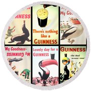 Vintage Guinness  Round Beach Towel by Georgia Fowler