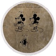Vintage Mickey Mouse Patent Round Beach Towel by Dan Sproul