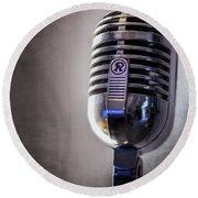 Vintage Microphone 2 Round Beach Towel by Scott Norris