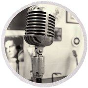 Vintage Microphone Sun Studio Round Beach Towel by Dan Sproul