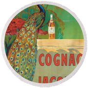 Vintage Poster Advertising Cognac Round Beach Towel by Camille Bouchet