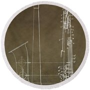 Vintage Saxophone Patent Round Beach Towel by Dan Sproul