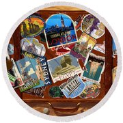 Vintage Travel Case Round Beach Towel by Garry Walton