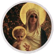 Virgin And Child Round Beach Towel by Antoine Auguste Ernest Herbert